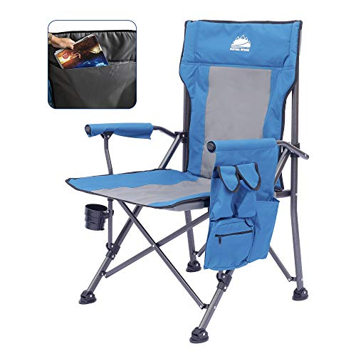 Coastrail Outdoor Folding Camping Chair High Back Padded Lawn Chair Heavy Duty Support 350 lbs with Foldable Cup Holder, Side Storage, Back Pocket for Camping Outdoor