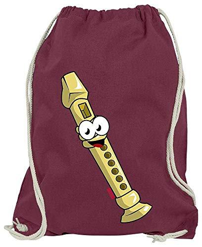 HARIZ Turnbeutel Flöte Lachend Instrument Kind Lustig Plus Geschenkkarte Wein Rot One Size