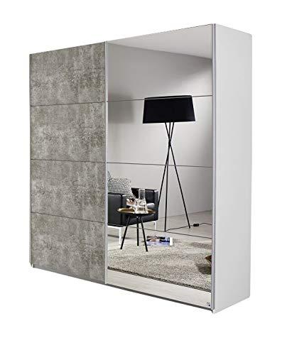 Schwebetürenschrank Bill weiß/grau 2 Türen B 181 cm Jugend Schlafzimmer Schrank Kleiderschrank Schiebetürenschrank Spiegelschrank