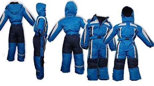 Moderei Auswahl an Schneeanzug | Schneeoverall Skianzug | Skioverall Snowboard Unisex | Jungen | Mädchen | Herren | Damen Schneeanzug (Blau 116-140) (128)
