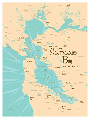 "San Francisco Bay California Vintage-Style Map Art Print Poster by Lakebound (9"" x 12"")."