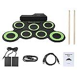 tamburo elettronico 7 pad,set di batteria elettronica,roll up percussioni midi drum pad kit con cuffie, pedali del tamburo incorporati, bacchette per bambini
