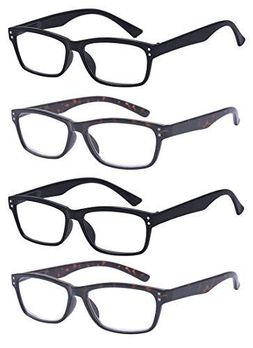 ALWAYSUV Reading Glasses Set of 4 Black Quality Readers Spring Hinge Glasses for Reading for Men and Women 1.25