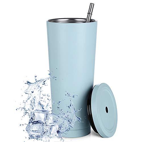 Aiboria 750ml Strohbecher Dünner Reisebecher mit Deckel, vakuumisolierte doppelwandige Reisebecher aus Edelstahl 18/8 für Kaffee, Tee, Getränke (hellblau)