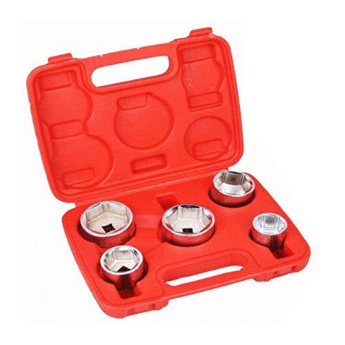 DFYYQ 5pc 3/8 Zoll Ölfilter Socket Set 24mm 27mm 32mm 36mm 38mm Universal-Schlüssel-Werkzeug-Kit (Color : Red)