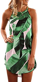 Maketina Women Summer Halter Printed Casual Short Strap Mini Dress