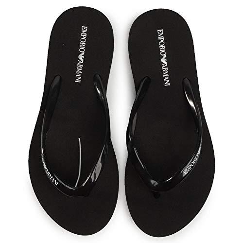 Emporio Armani Swimwear Flip Flop Essential, Chanclas Mujer, Color Negro, Blanco y Negro, 37 EU