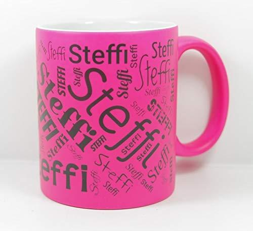 online-hut Namenstasse (Wunschname) Neon Pink/selber individuell Gestalten/Personalisierbar mit eigenem Text/Werbetasse/zum bedrucken/Motivtasse/Firmentasse/mit Logo