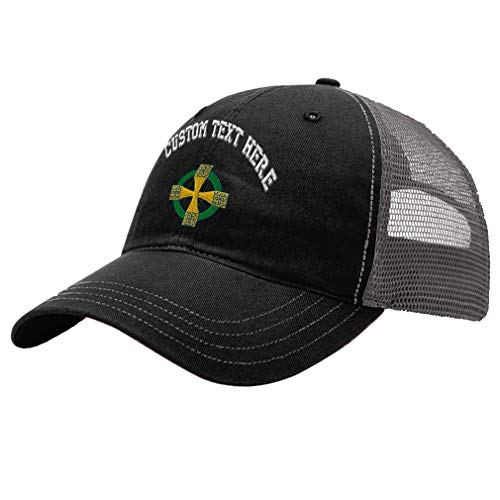 Trucker Hat Richardson Celtic Cross B Embroidery Design Cotton Soft Mesh Cap Snaps Black/Charcoal Design Only