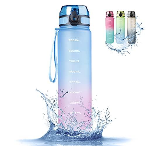 RaMokey butelka sportowa, 1 l, szczelny bidon, bez BPA, smukła butelka na wodę z tritanu, na rower, siłownię, do jogi, aktywności na świeżym powietrzu, na kemping