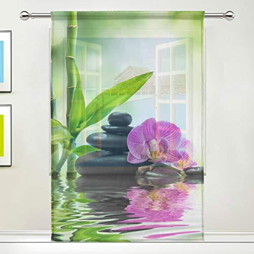 DOSHINE Vorhang, transparent, Blumen-Orchidee, japanischer Zen, Bambus, für Türen, Fenster, Schlafzimmer, Badezimmer, Küche, Wohnzimmer, 139,7 x 198 cm, 1 Panel, Polyester, multi, 55