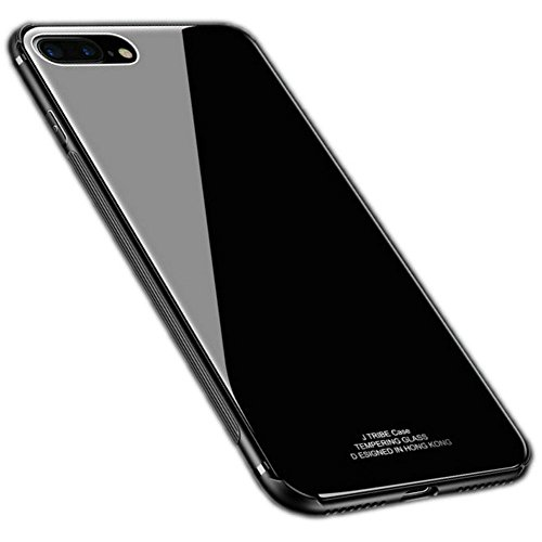 Kepuch Quartz Case Capas TPU &Voltar (Vidro Temperado) para iPhone 7 Plus 8 Plus - Preto