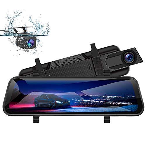 WIFIGDS 10 inch touchscreen autocamera dubbele camera 2K 1080P 170° groothoek spiegel dashcam met achteruitrijcamera nachtzicht