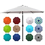 Blissun 9' Outdoor Aluminum Patio Umbrella, Striped Patio Umbrella,...