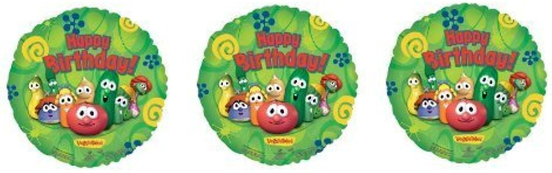 3 Veggie Tales Happy Birthday Mylar Balloons - Multi Foil Balloons by VeggieTales