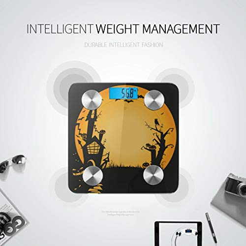Bluetooth Body Fat Scale Halloween Haunted House Smart Wireless Scale with LCD Display Measuring Body Weight Bmi and Health Digital Scale Best Bath