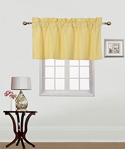 Gorgeous Home Linen (RS9) 1 Small Short Decorative Rod Pocket Foam Lined Blackout Swag Window Curtain Straight Valance for Kitchen, Living Room, Bedroom, Nursery, Basement & Bathroom (Yellow)