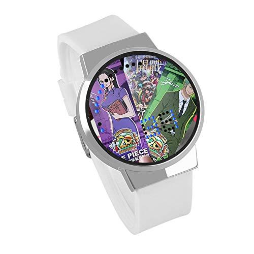 Relojes De Pulsera,Pantalla Táctil Creativa LED Reloj One Piece Anime Que Rodea Impermeable Luminosa Reloj Electrónico Regalo De Cumpleaños Silver Shell Leucorrhea