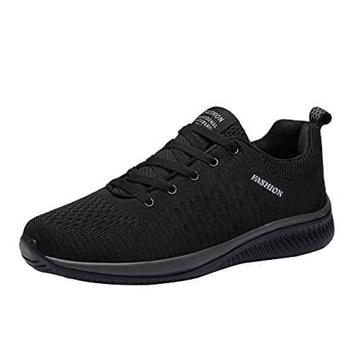 Zapatillas de deporte unisex de malla transpirable de malla ligera y resistente al agua, con cordones, antideslizantes, informales, cómodas, con plataforma, Black, 41 EU