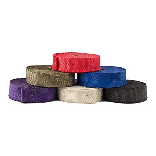 Autopartes Colector de escape colector de escape térmico de fibra de vidrio encabezado venda caliente de la cinta w /15m 5 Lazos de acero kit blanco Rojo Azul Púrpura piezas de automóvil