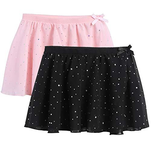 Zaclotre Girls Ballet Dance Skirt Chiffon Wrap Dancewear 2-Pack Pink Black 10-11 Years