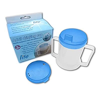 Life Healthcare Drinking Cup for Disabled Adults with Easygrip Handles AntiSplash Spout and Travel Lid