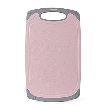 IMPR3.TREE Microban Antimicrobial Protection BPA Free Kitchen Plastic Cutting Board (M, Nordic Pink)