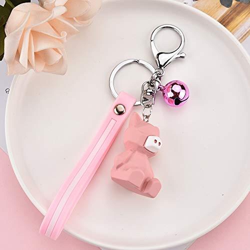 Neaer Keychain Cartoon Keychain - resin silicone Cartoon Figure Trolls Key Chain Car Mini Anime Key Ring Minnie Key Holder Fashion Key Ring (Color : Pink)