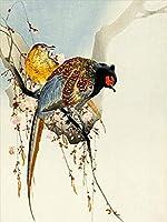 キッズルームの壁の装飾プリントキャンバスツグミの絵画鳥の壁アートィンテージ写真モダンポスター家の装飾-90x60cmフレームなし