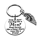 Best Aunt Gift for Women Her Auntie from Niece Nephew Jewelry Mothers Day Birthday Christmas Valentines Wedding Thanksgiving Key Chain Gift Only an Aunt Can Hug Like A Mom Stocking Stuff Keepsake