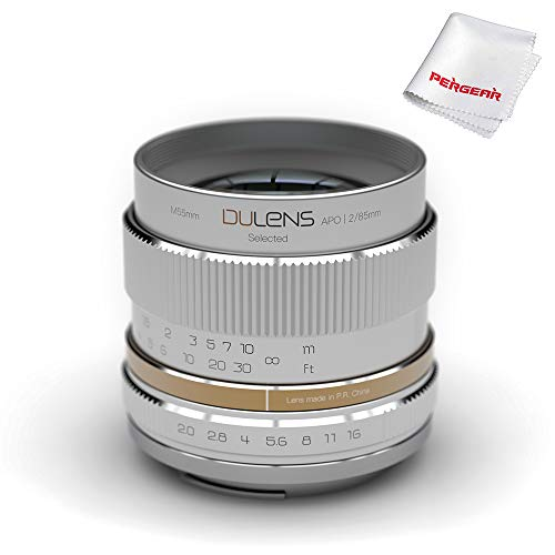 DULENS APO 85 mm F2.0 Lente Prime con Elemento apocromático para cámaras Nikon de Montura F de Montura Completa, construcción Totalmente metálica, Estructura óptica asimétrica (Plata)