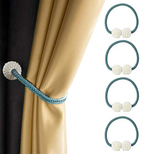 Curtain Tiebacks, 4 Pack Magnetic Curtain Ties Decorated with Resin Pearls, Curtain Holdbacks for Blackout Curtains & Décor (Blue / 4 Pack)