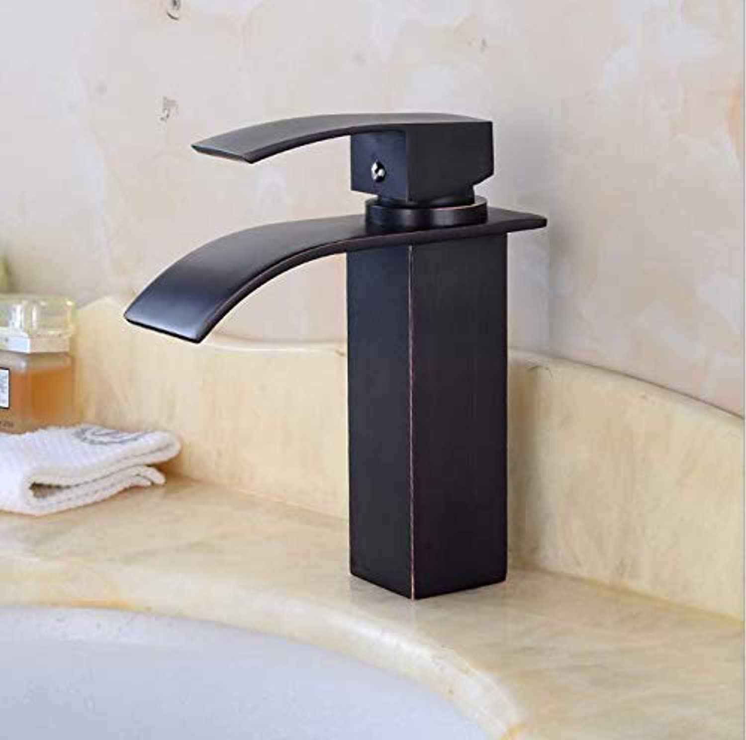 Retro Deluxe Fauceting European-Style Black Ancient Waterfall Faucet Bathroom Basin Cold and Hot Water Faucet Beneath Copper Faucet Basin