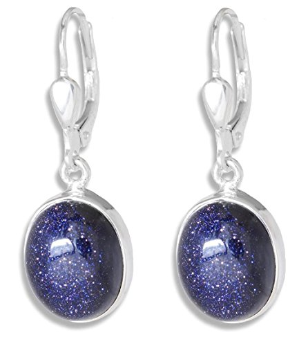 ERCE Blaufluss Ohrringe oval, 925 Silber