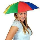 thematys Faltbarer Regenschirm Sonnenschirm Hut - Kopfbedeckung für Erwachsene - perfekt für...
