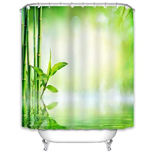 X-Labor Bambus Duschvorhang 240x200cm Wasserdicht Stoff Anti-Schimmel inkl. 12 Duschvorhangringe Waschbar Badewannevorhang 240x200cm Muster-A