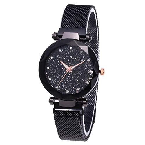 KHHGTYFYTFTY Reloj de Las Mujeres analógicas Relojes de Pulsera Movimiento con el Cielo Estrellado de la PU Impermeable Brazalete clásico Esfera de un Reloj 1pc Negro