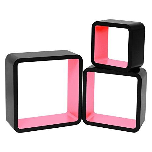 WOLTU RG9269rs-c Wandregal Cube CD Regal 3er Hängeregal Würfel, schwarz-rosa