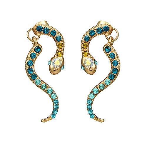 Mypace 925 Silber Gold Set Creolen hängende Ohrringe Für Frauen-Weinlese-Pers5onlichkeit-Tierkreis-Schlange-förmige Diamant-Ohrringe Tierlegierungs-Ohrringe