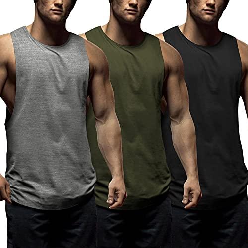 COOFANDY Camisetas sin mangas para hombre, 3 unidades, para gimnasio, culturismo, fitness, 01-negro/gris medio/verde militar, Medium