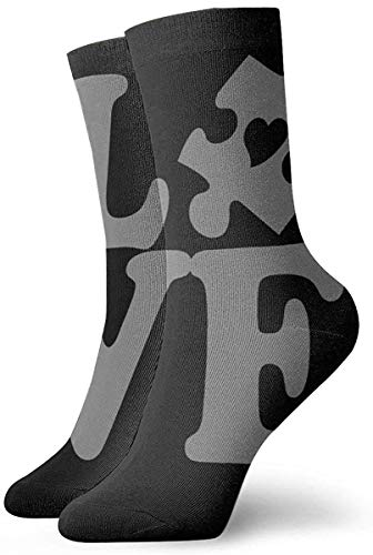 Athletic/Sport Sock,Crew Socks,Compression Socks,Casual Socks,Autism Love Puzzle Piece With Heart Moisture Control Running Socks Durable Breathable Training Socks