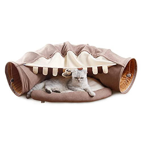 JLKDF Cat Tunnel Bed Collapsible Kitten Interactive Toy with Soft Cushion Mat Removable Thick Pet Play Tent for Cat, Small Dog, Puppy, Rabbit (Coffee)
