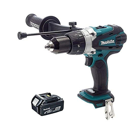 Makita DHP458Z 18V 2 Speed Heavy Combi Drill Body with 1 x 5.0Ah Battery BL1850, 18 V