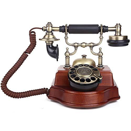 Teléfono Fijo Retro Teléfono Retro con dial Giratorio Teléfono Antiguo Antiguo Teléfono Fijo Hogar Vintage con Altavoz Teléfono Giratorio de Metal Creativo