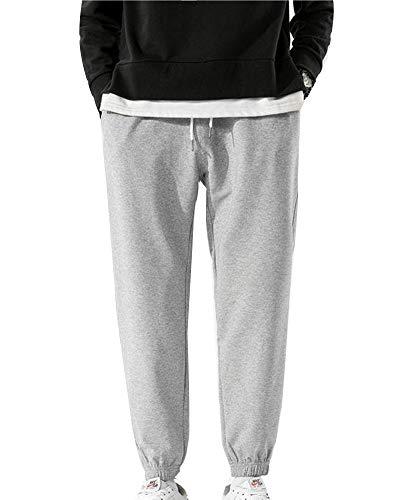 Pantalones de chándal para Hombre Pantalones de Deporte Anchos de Punto Sueltos Pantalones de Entrenamiento de Baloncesto de Jogging con Cintura elástica Gris XXXL
