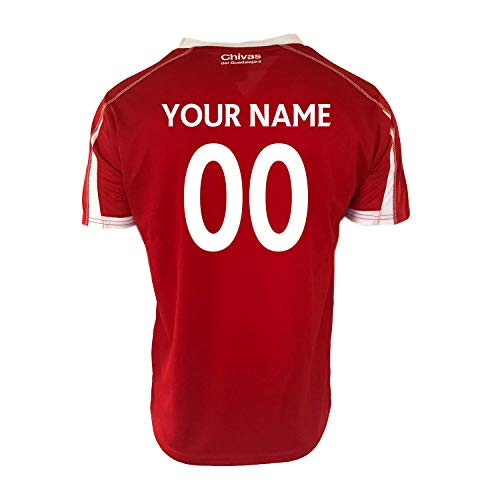 RhinoxGruop Chivas Soccer Training Jersey Performance FMF Customized Any Name (M, RED-Stich)