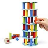 Coogam Hölzern Turm Stapelspiel, Feinmotorik-Bausteine mit Würfeln Schiefer Turm Spielzeug Montessori Family Party Games für Kinder und Erwachsene