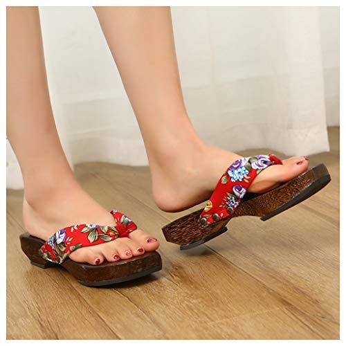 OFFA Pantuflas Pantuflas Zapatillas para Mujer, Zapatos De Sandalias Tradicionales De Kimono Japonés para Mujer,Zapatos para Caminar De La Playa De Verano para Exteriores De Zapatos para Caminar