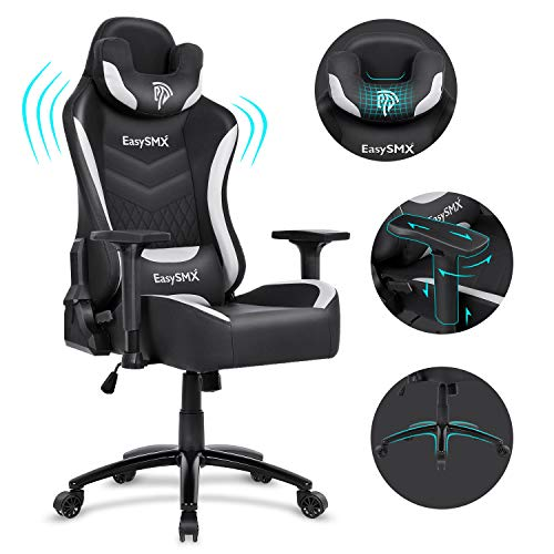 EasySMX Gamer Chair Video Gaming Chair Big and Tall Gaming Office Chair Swivel Adjustable Leather Recliner with Headrest and Lumbar Pillow for Home and Office (Gray Black)