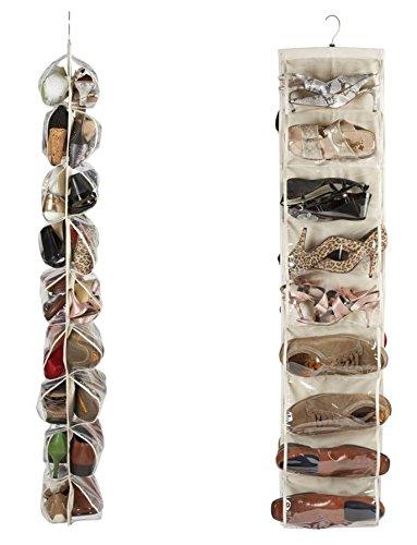 Heavy Duty 18 bolsillo para colgar organizador de zapatos para armario Rail para hasta 18 pares - tipo Beige Material robusta lona Oxford (600d) con reforzada clara PVC bolsillos - 30 x 137 cm - Organizador de almacenamiento de organizador por Brilliant Feet